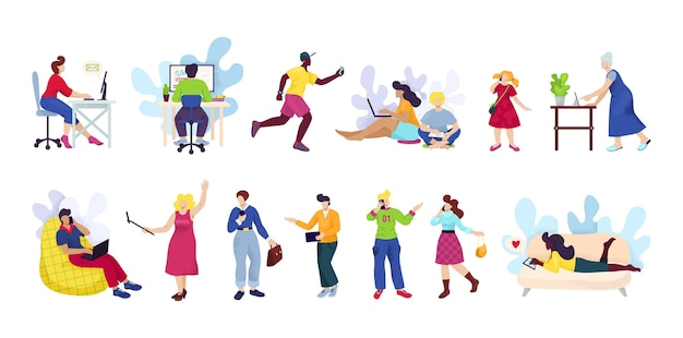 Persone con smartphone, set di dispositivi digitali. uomo e donna che utilizzano smartphone, telefono cellulare o tablet di tecnologia gadget nei mezzi di comunicazione di rete sociale.