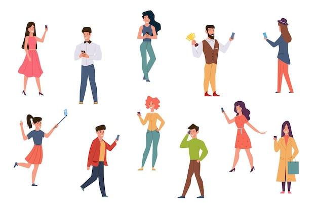 Persone con illustrazione di smartphone