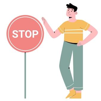 Persone con segnale di stop
