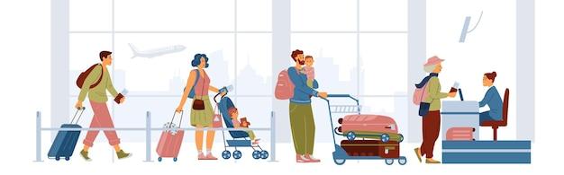 Persone con valigie e borse sole e con bambini che aspettano in coda per il check-in in aeroporto