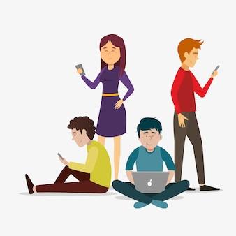 Persone con dispositivi tecnologici