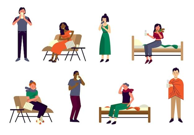 Persone con vari sintomi del comune raffreddore e influenza. personaggi con mal di testa, mal di gola, naso che cola e tosse. persone malate a casa.