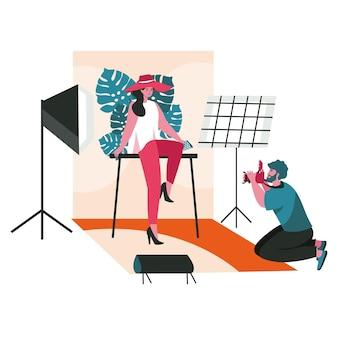 Le persone lavorano come concetto di scena di fotografi. l'uomo fa una sessione fotografica di posa modella in studio. attività professionali e per hobby. illustrazione vettoriale di personaggi in design piatto