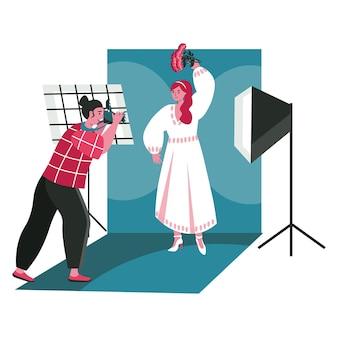 Le persone lavorano come concetto di scena di fotografi. l'uomo con la macchina fotografica fa le foto alla donna in posa in studio. attività professionali e per hobby. illustrazione vettoriale di personaggi in design piatto