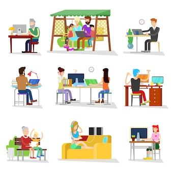 La gente lavora il lavoratore o la persona di affari che lavora al computer portatile nelle persone lavorate delle donne di affari dell'ufficio sul computer con l'illustrazione del collega su fondo bianco