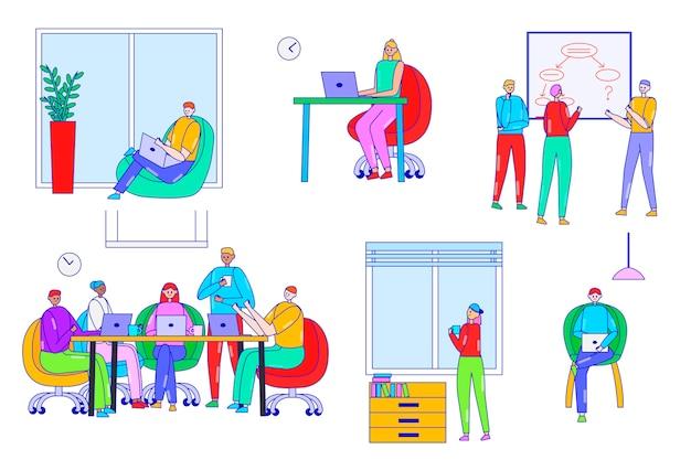 La gente lavora, co illustrazione dello spazio di lavoro, personaggi dei cartoni animati di linea uomo d'affari che lavorano sul set di lavoro moderno ufficio