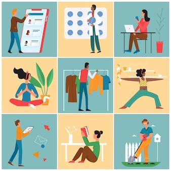 Persone nel lavoro freelance in linea o comunicazione uomo che lavora donna meditando lettura