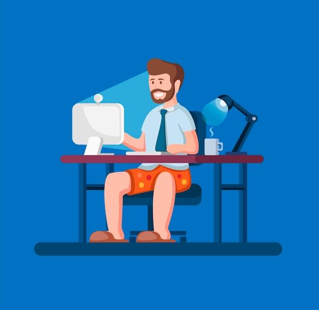 La gente lavora da casa, l'uomo lavora in remoto seduto indossa camicia e cravatta con whortpant che incontra l'illustrazione online del fumetto