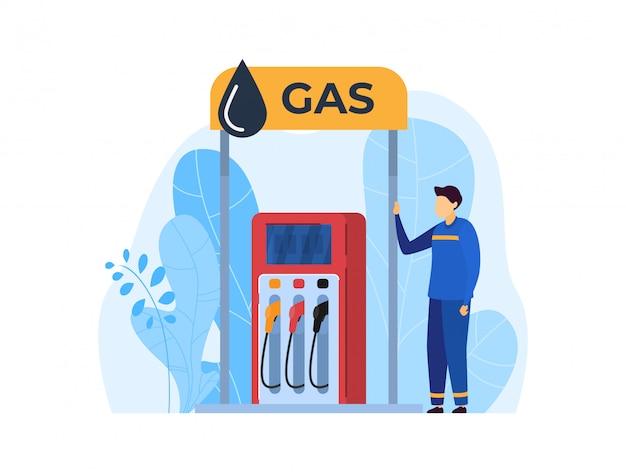 La gente lavora nell'illustrazione della stazione di servizio, carattere dell'operaio del fumetto che lavora per riempire il combustibile nell'icona dell'automobile su bianco