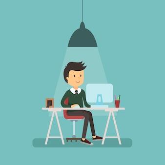 Le persone lavorano in ufficio design piatto. uomo d'affari, lavoratore di computer, tavolo scrivania da ufficio e posto di lavoro. ragazzo seduto su una sedia al tavolo davanti al monitor del computer portatile
