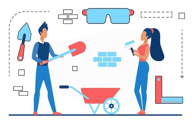 Le persone lavorano nei costruttori di servizi di riparazione e nelle icone delle linee astratte di ristrutturazione della casa