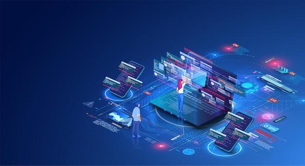 Le persone lavorano in team e interagiscono con i grafici. affari, gestione del flusso di lavoro.