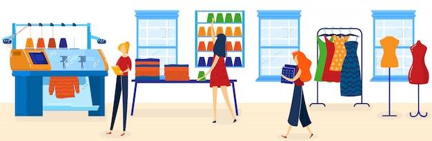 La gente lavora nell'illustrazione di vettore di industria tessile.