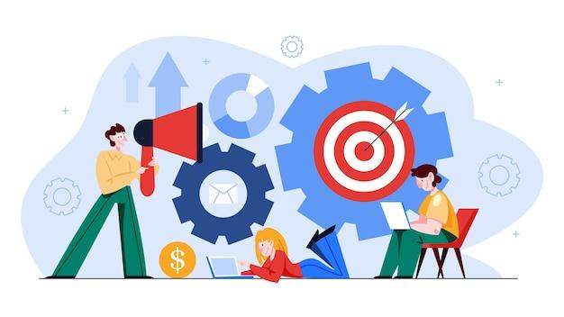 Le persone lavorano insieme nel set di banner del team. strategia e pianificazione aziendale. i lavoratori si sostengono a vicenda. idea di successo e vittoria. illustrazione in stile cartone animato