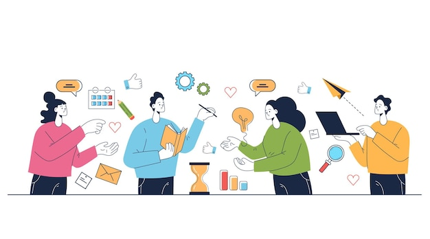 Persone lavoratori personaggi che lavorano e pensano insieme