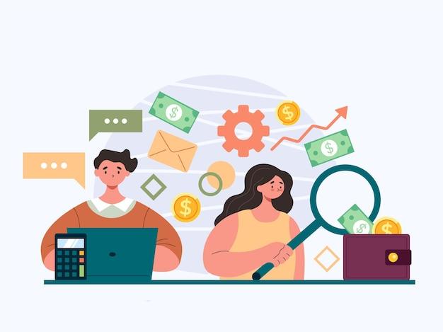 Persone lavoratori uomo donna caratteri conteggio affari profitto acountant uomini d'affari lavoratori caratteri concetto di squadra