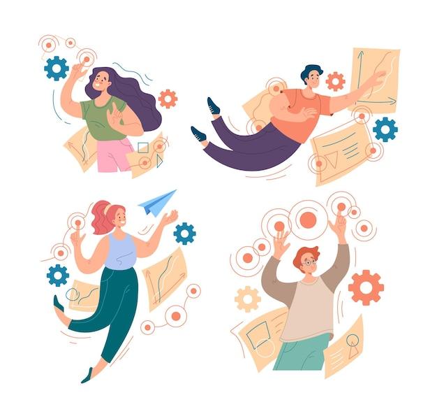 Persone lavoratori uomo donna caratteri che interagiscono il concetto di progetto del flusso di lavoro aziendale