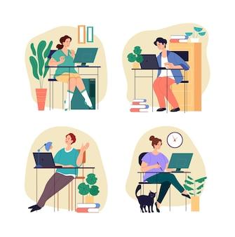 Persone lavoratori studenti personaggi che lavorano studiando a casa. concetto di freelance di home office.
