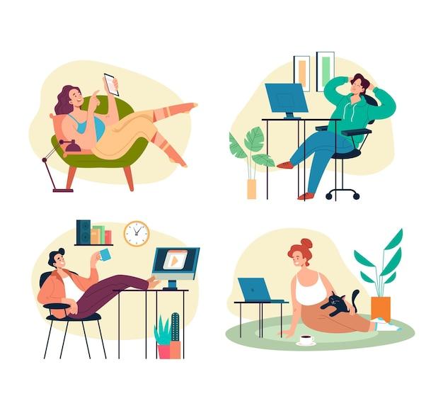 Persone lavoratori studenti che lavorano, studiano e si rilassano in condizioni confortevoli nel set di interni domestici.