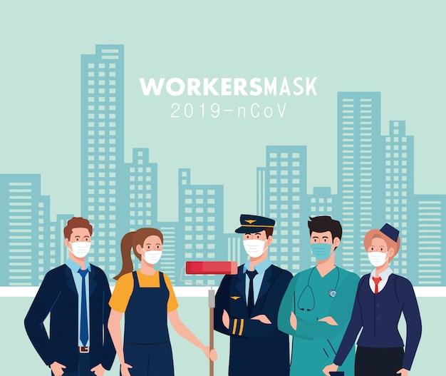 Gli operai della gente con i workermasks davanti alle costruzioni della città dell'illustrazione di tema dei lavoratori di coronavirus