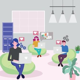 Persone che lavorano, dipendenti che lavorano con il computer portatile che si siede sull'illustrazione dell'area di lavoro delle sedie del fagiolo