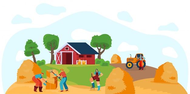 La gente che lavora in fattoria, accatastamento di balle di fieno, illustrazione