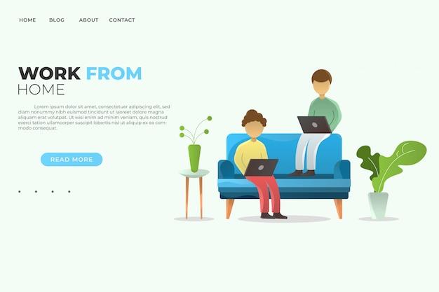 La gente che lavora dal concetto domestico dell'illustrazione per il sito web