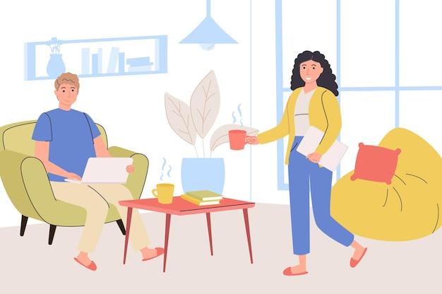 Persone che lavorano a casa concetto di ufficio donna e uomo lavorano online su laptop seduti
