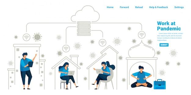 Le persone che lavorano all'interno delle loro case utilizzando la tecnologia cloud server e datacenter durante la nuova normale pandemia. progettazione dell'illustrazione della pagina di destinazione, sito web, applicazioni mobili, poster, flyer, banner
