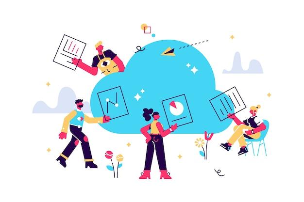 Persone che lavorano online, condividono documenti su cloud storage