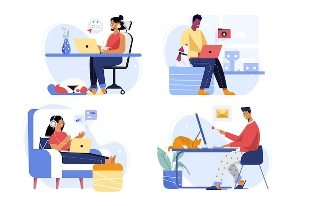 Set di scene di persone che lavorano a distanza