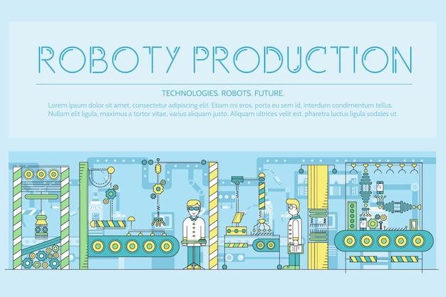 Persone che lavorano al contorno della catena di montaggio dei robot