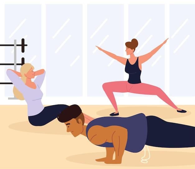 Persone allenamento fitness