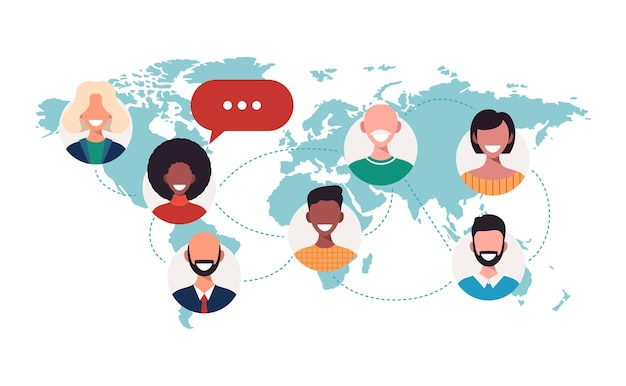 Persone sulla mappa del mondo bolle di chat concetto di connessione di lavoro di squadra comunicazione globale