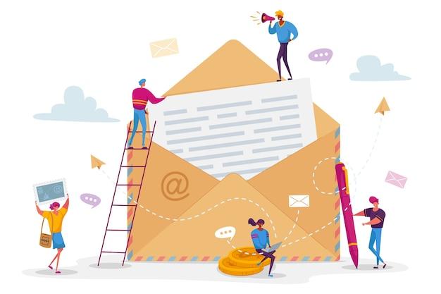 Persone che scrivono il concetto di lettera di posta elettronica. piccoli personaggi maschili femminili con penna e francobollo