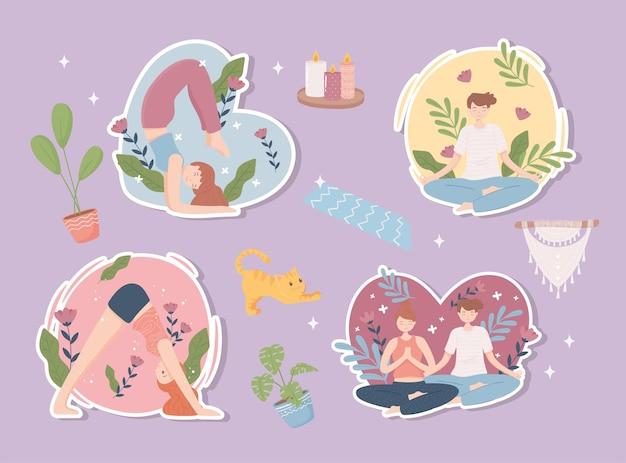 Adesivi yoga persone