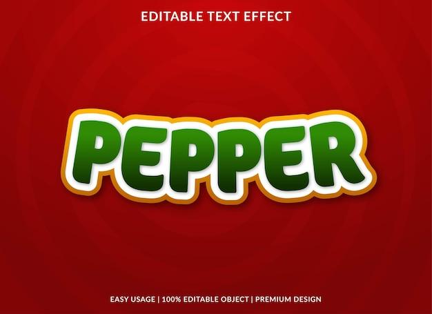 Modello di effetto testo modificabile pepe premium vector