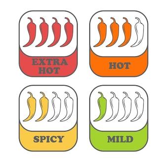 Livelli di spezie al pepe. segno di peperoncino per il confezionamento di cibi piccanti. adesivi salsa di pepe.
