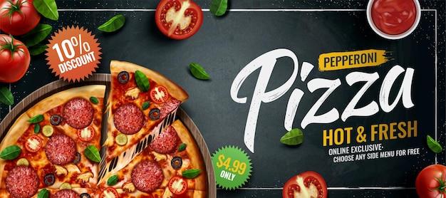 Annunci di banner per pizza ai peperoni su sfondo di lavagna con pomodori e foglie di basilico, illustrazione 3d