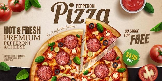 Banner pubblicitari per pizza ai peperoni su sfondo di carta kraft con pomodori e foglie di basilico, prospettiva vista dall'alto dell'illustrazione 3d