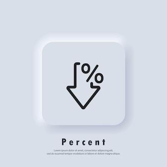 Icona freccia percentuale. percentuale logo. crescita e riduzione - sconto. vettore. icona dell'interfaccia utente. pulsante web dell'interfaccia utente di neumorphic ui ux bianco. neumorfismo