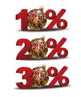 Icona di sconto percentuale di dieci e trenta per cento di sconto con palle di natale rosse