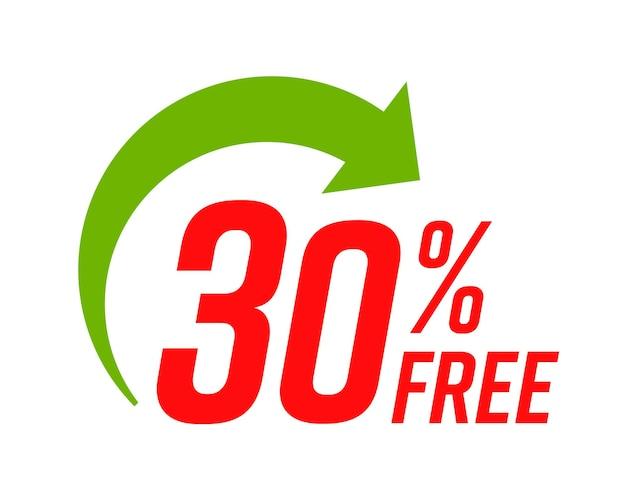 Percentuale di layout adesivo gratuito con freccia isolata