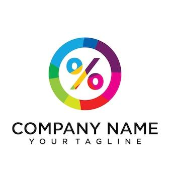 Modello di progettazione del logo in percentuale. segno creativo foderato colorato