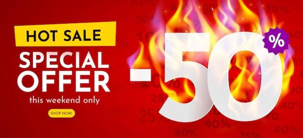 Percentuale di sconto banner di vendita calda con poster di sconto sui numeri in fiamme