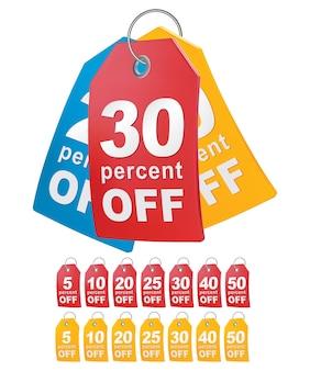 Percentuale di sconto tag dello shopping.