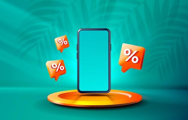 Vettore di visualizzazione mobile della tecnologia dello schermo mobile del podio di percentuale