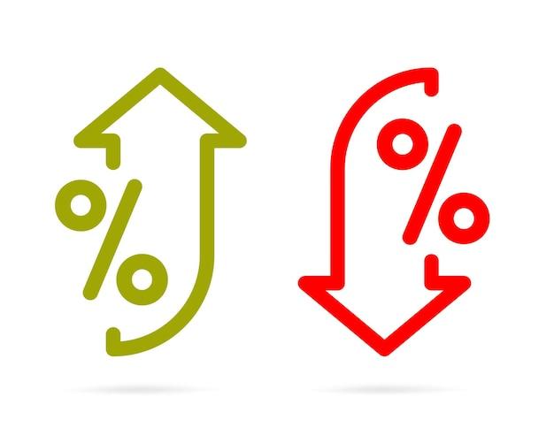 Percentuale con elemento di design del contorno del modello freccia su e giù.
