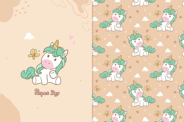 Modello senza cuciture unicorno giorno perfetto