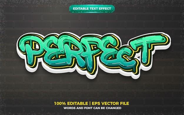 Perfect graffiti art style logo effetto testo modificabile 3d